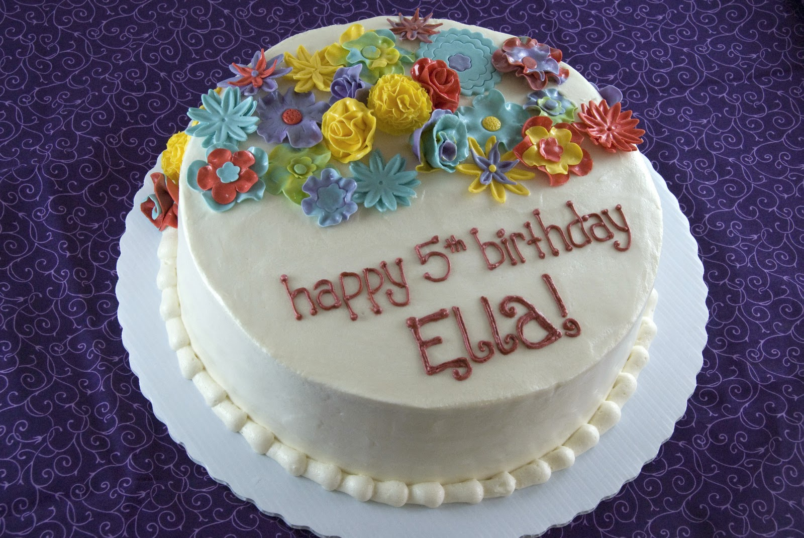 Night Baking: colorful flower garden birthday cake
