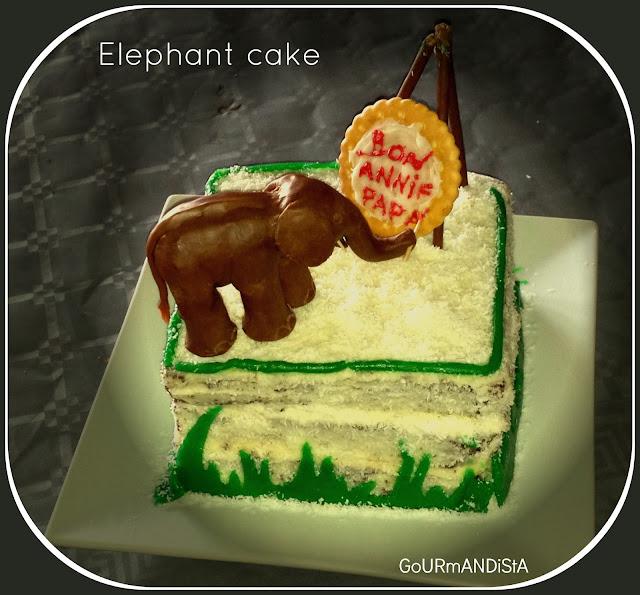image Mon 1er gâteau décoré : un éléphant cake