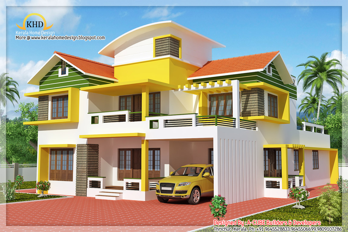 Exterior collections kerala home design 3d views of residential bangalows - Design of home ...