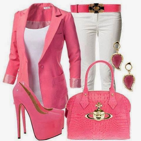 Pink fashion combination - cotton jacket,high heels shoes,leather handbag,adorable earrings and white pants with leather pink belt
