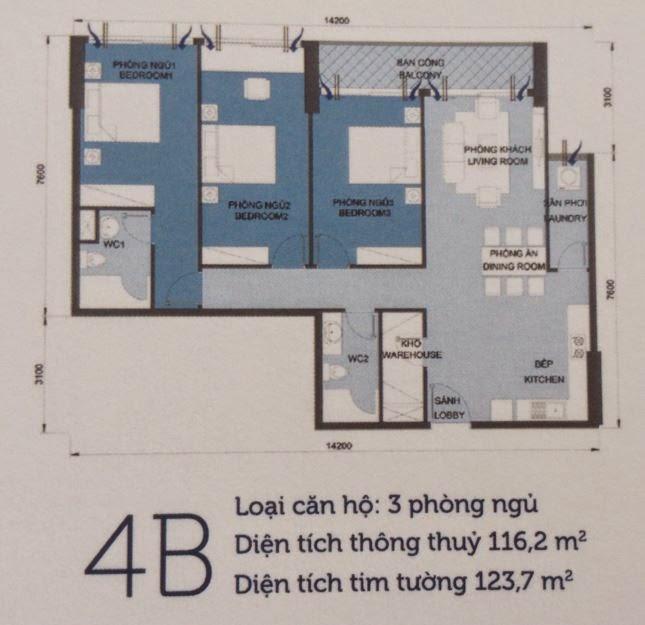 Căn hộ Vinhomes Central Park 6 - căn hộ số 4B - 123.7m2 - 3PN