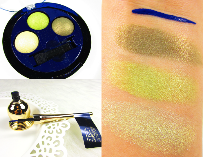 p2 Fabulous Beauty Gala LE Swatches - CLUB SPIRIT EYELINER in jet-set blue, PERFECT NIGHT TRIO EYE SHADOW in 020 showing off