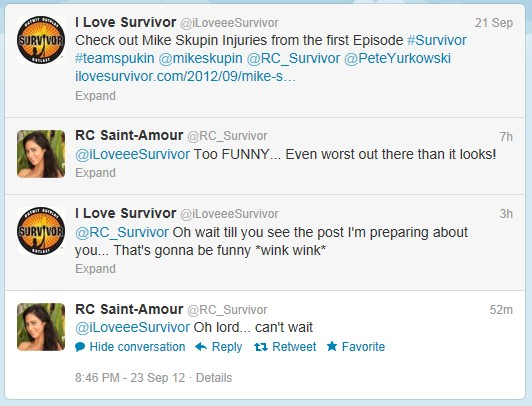 Survivor RC Tweets back