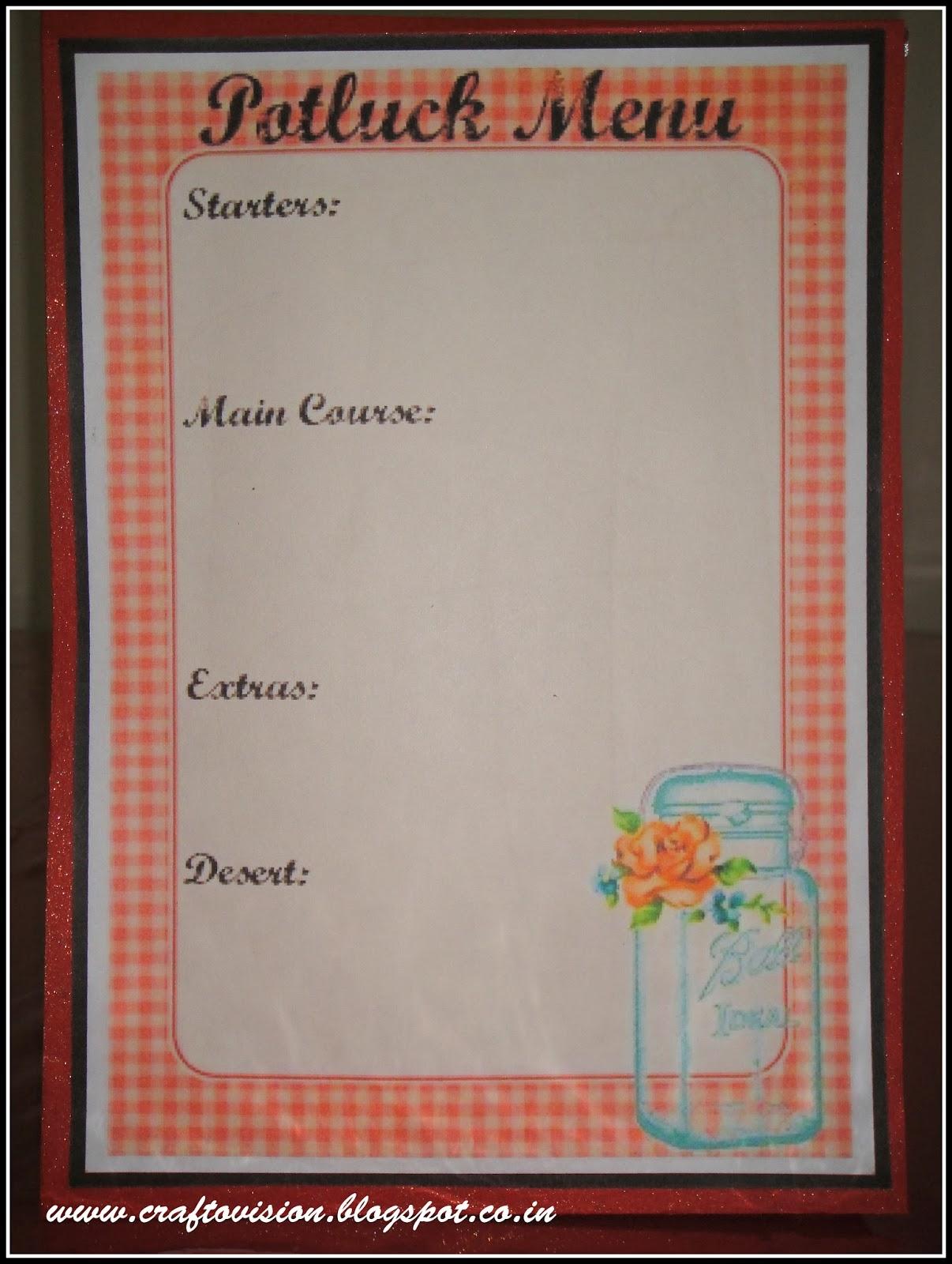 Blank Menu Design Templates Potluck menu & labels