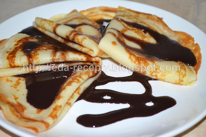 Блинчики тонкие со сгущенкой с какао
