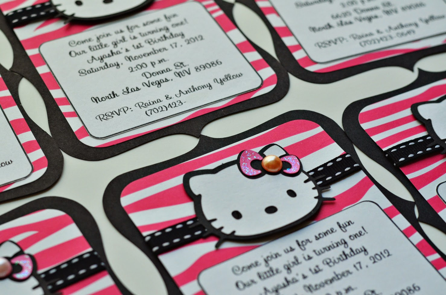 Jingvitations Hello Kitty Zebra Hot Pink and Black Birthday