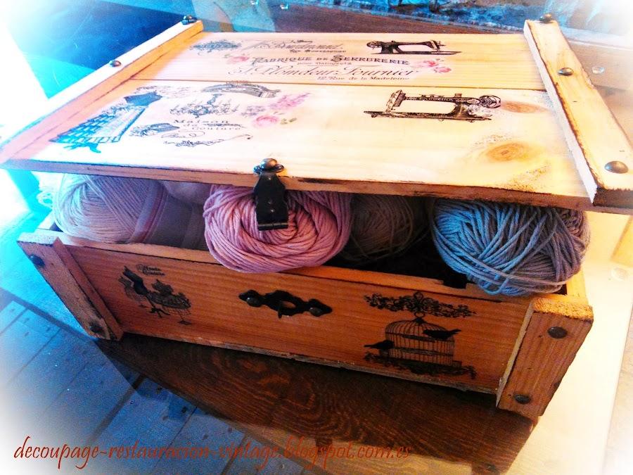 Fuente decoupage tr nsfer restauraci n pintura y otras - Manualidades con caja de madera ...