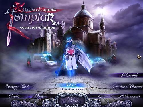 Hallowed Legends 2: Templar Collector's Edition main menu