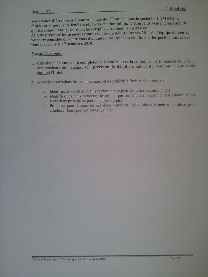 Examen de Passage TSC Pratique et Théorique 2010 02