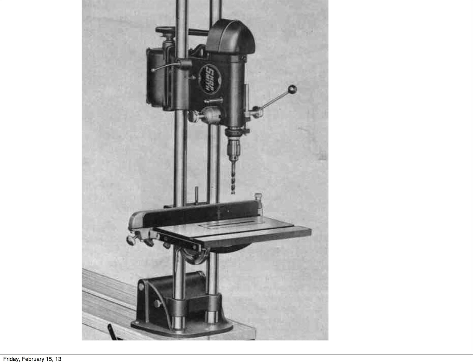 shopsmith 10er drill press. a trunnion mounted on the tie bar indicates tilt angle and provides ability to lock in angle. spring-loaded locking lever automatically locks shopsmith 10er drill press h
