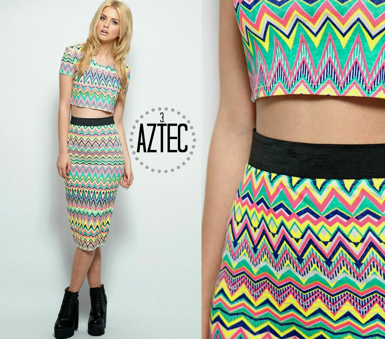 Pretty Little Thing Aztec Co-ord Summer Midi Skirt
