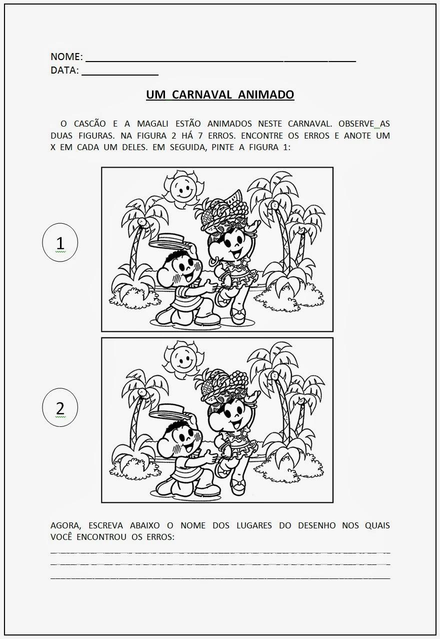 Atividades Carnaval - Jogos dos 7 Erros - Atividades Turma da Mônica