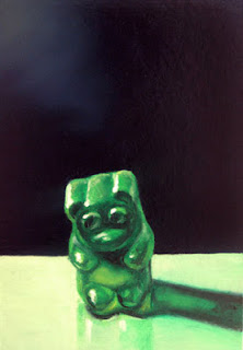 gummy bear painting, realistic gummy bear, jeanne vadeboncoeur, original art