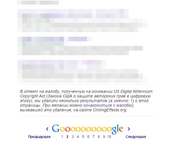 Нарушения DMCA в поисковой выдаче