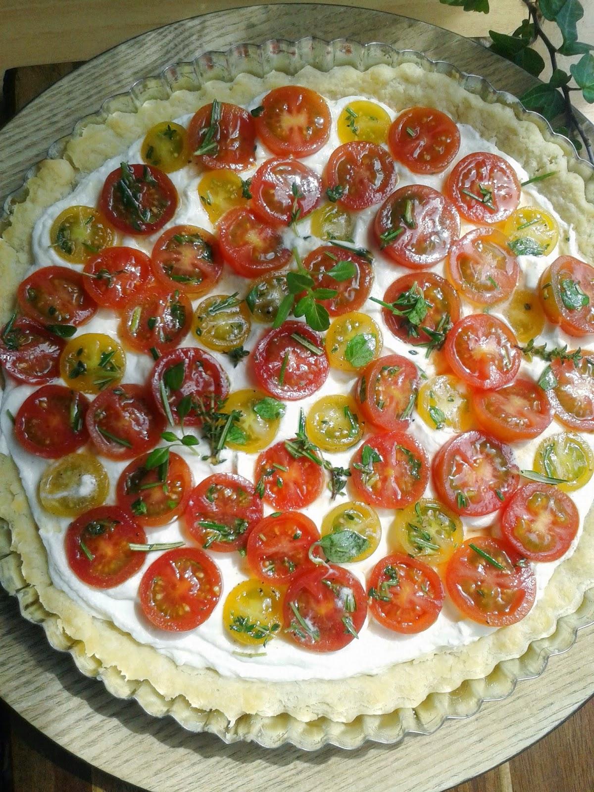 tarta de ricotta y tomates cherry