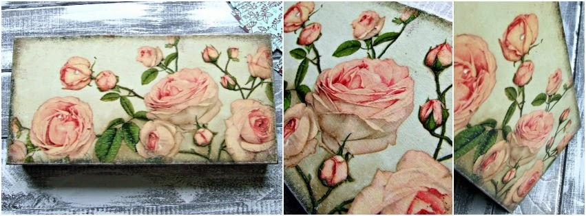 Pudełko decoupage w angielskie róże vintage. Pudełko na listy,wizytówki i paragany by Eco Manufaktura.