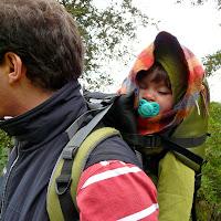 Niña en la mochila de senderismo de su padre.Excursión Esporles - Banyalbufar. Sierra de Tramuntana. Malllorca