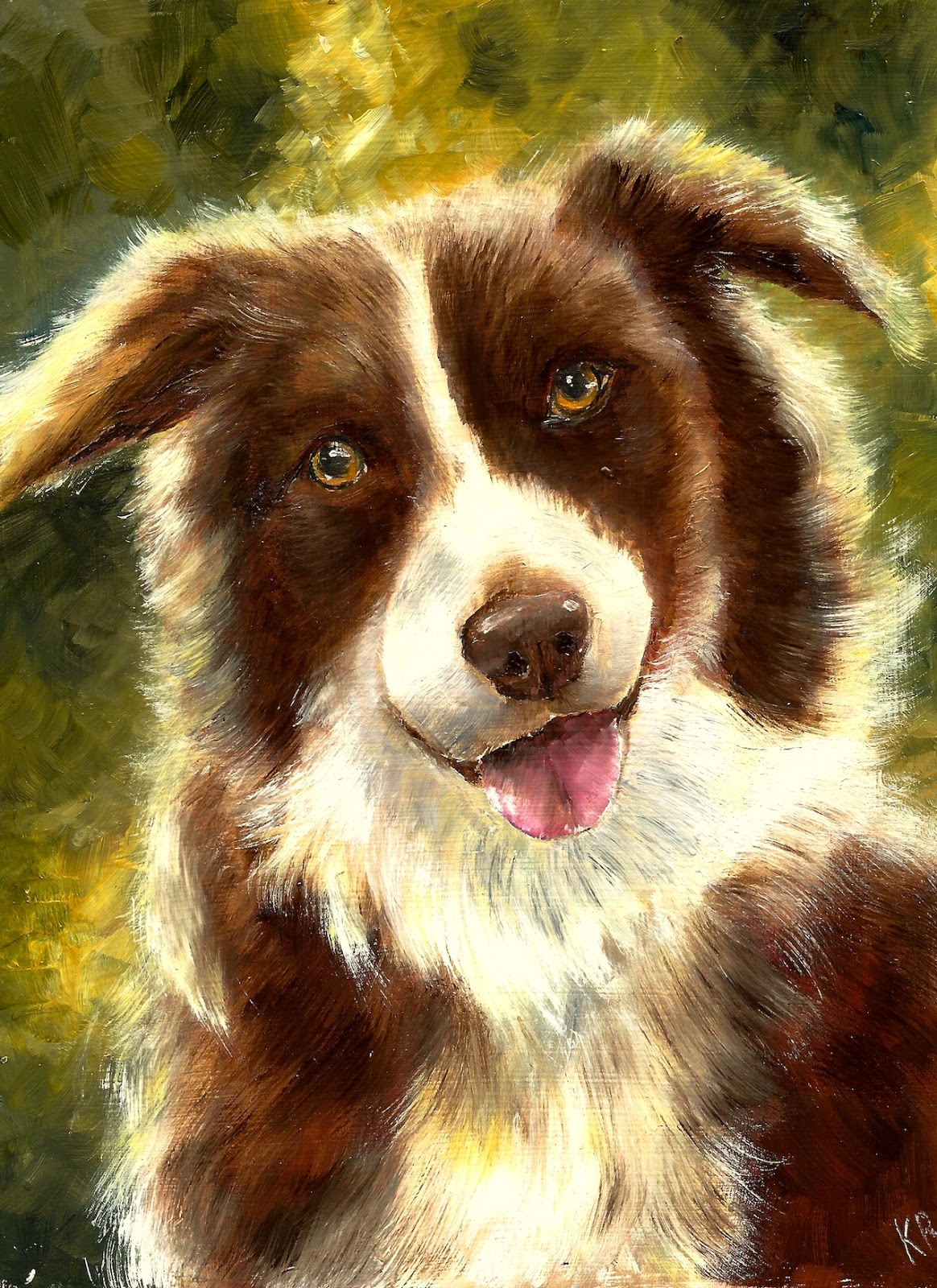 Oil painting of a brown collie, painted contre-jour, a pet portrait by karen
