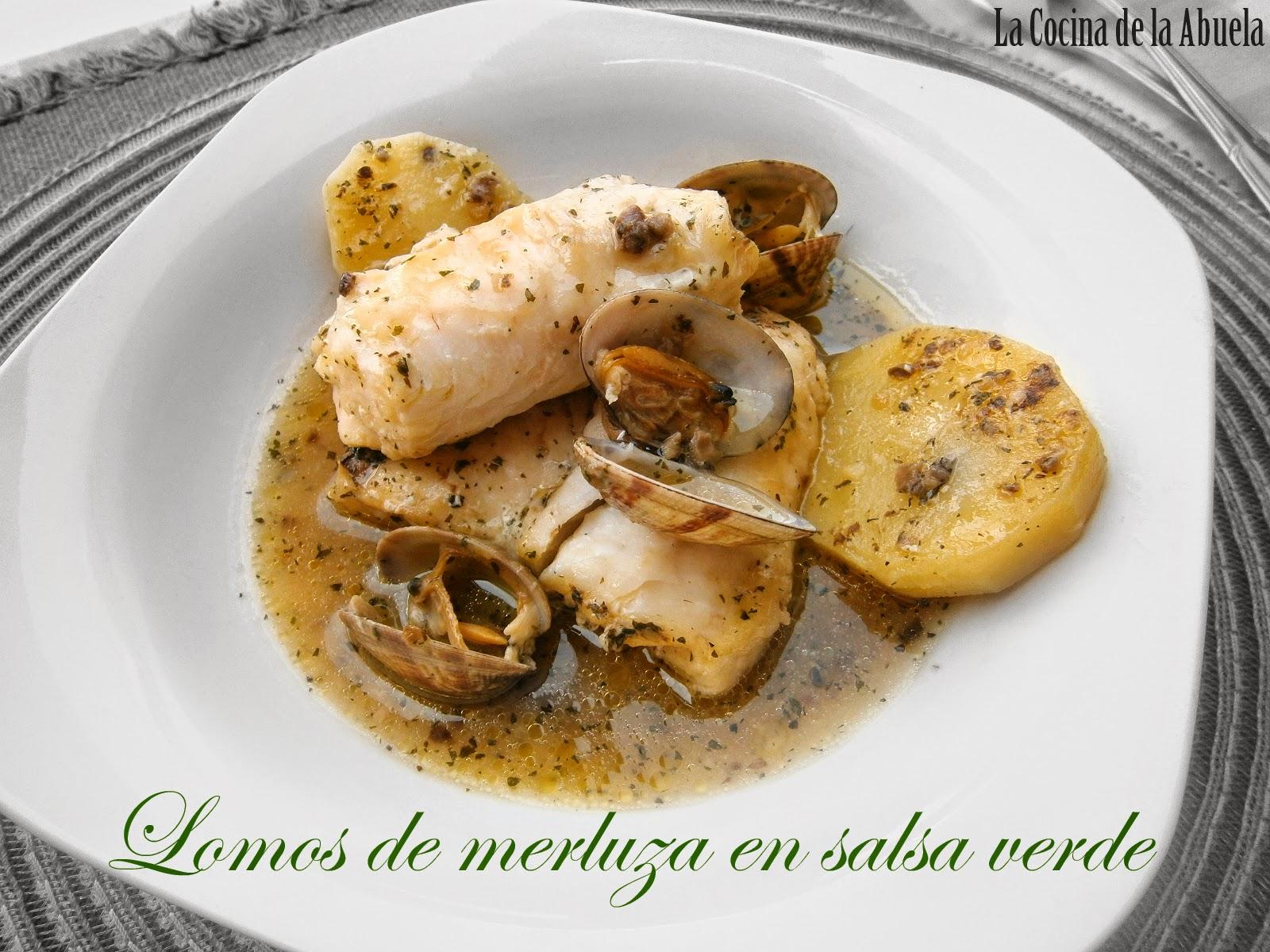 Lomos de merluza en salsa verde