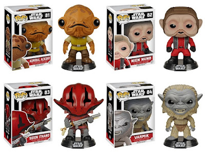 Star Wars: The Force Awakens Pop! Series 2 by Funko - Admiral Ackbar, Nien Nunb, Sidon Ithano & Varmik