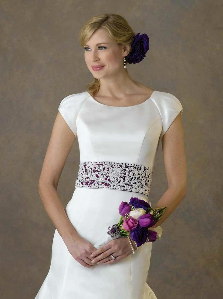 Wedding Dresses Purple Belts With Cap Sleeves Design pictures hd