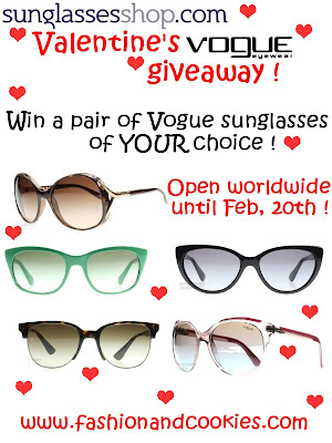 SunglassesShop Valentine's Vogue giveaway on Fashion and Cookies
