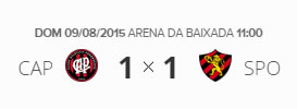 Atlético-PR 1x1 Sport pela 17ª Rodada do Brasileirão 2015