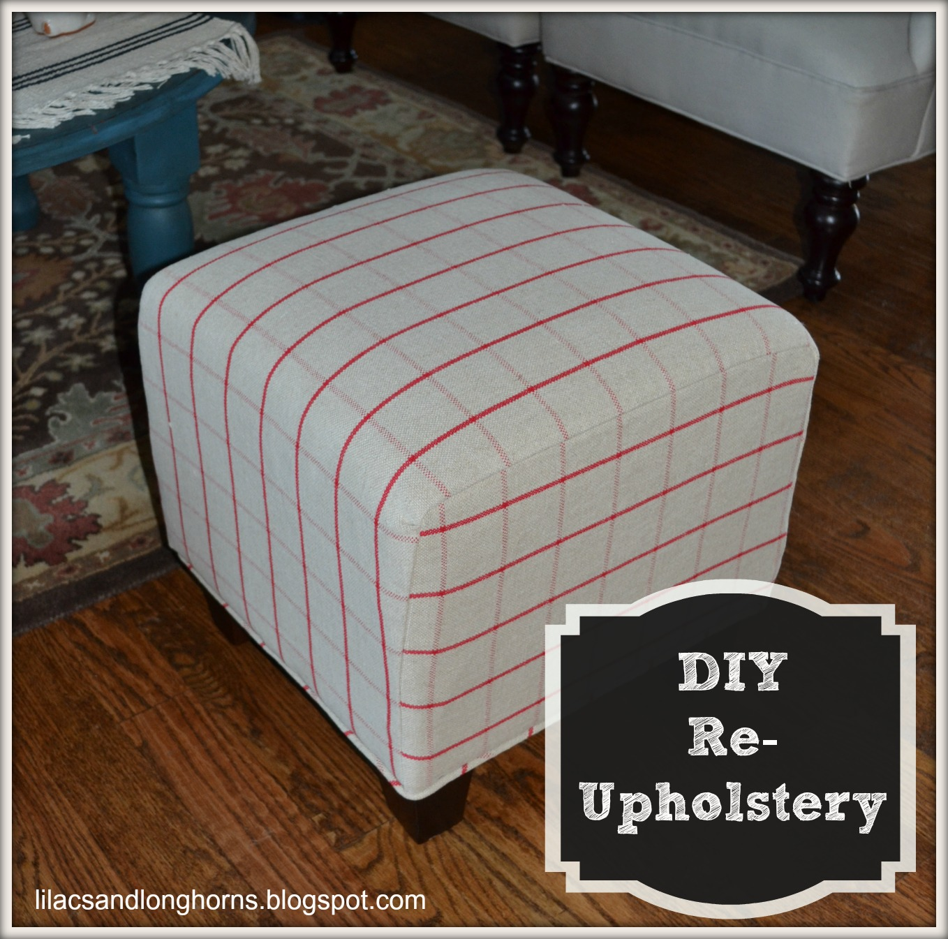 I Did It Reupholstering Cube Ottomans Tutorial Lilacs