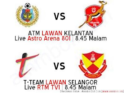 Siaran Langsung Dan Live Streaming ATM vs Kelantan dan T-Team vs Selangor Piala Malaysia 28 Ogos 2012