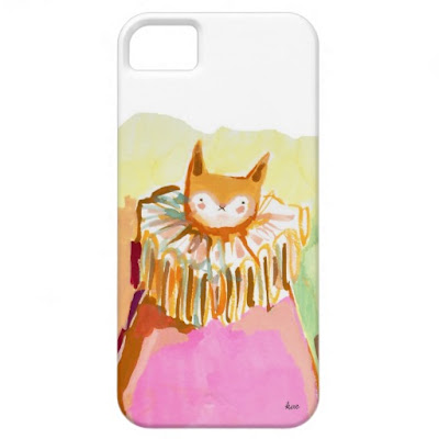 gouache painting of a cute orange cat in a neon pink robe /  iphone case