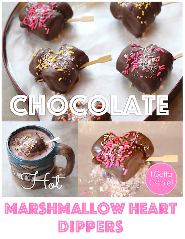Chocolate Marshmallow Heart Dippers. So cute! | Recipe at I Gotta Create!