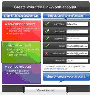 cara daftar linkworth