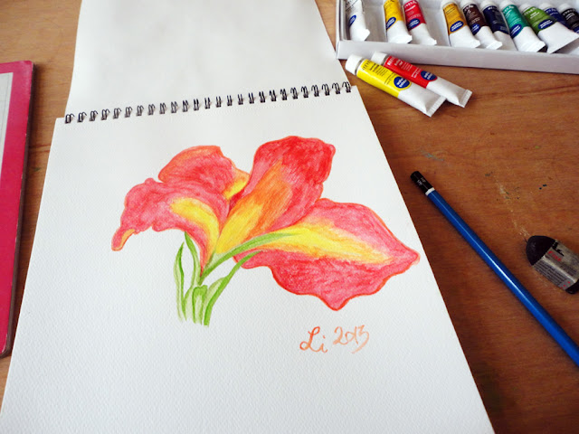 Art Li and Stuff - Canna flower watercolour painting