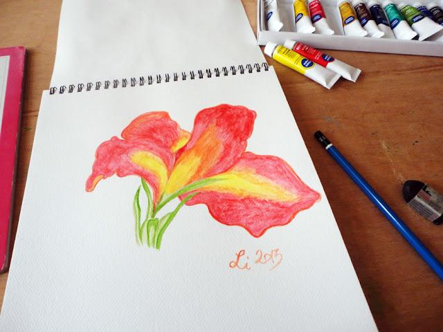 Art Li and Stuff - Canna flower watercolour painting