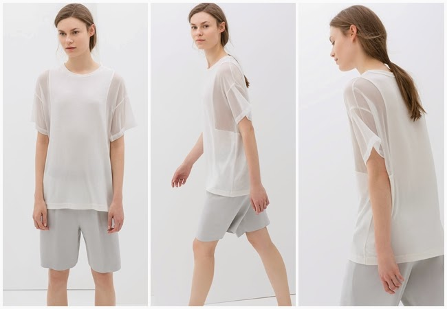 cf. Calvin Klein Collection SS 2014 White Oversized Top With Sheer Mesh Sleeves