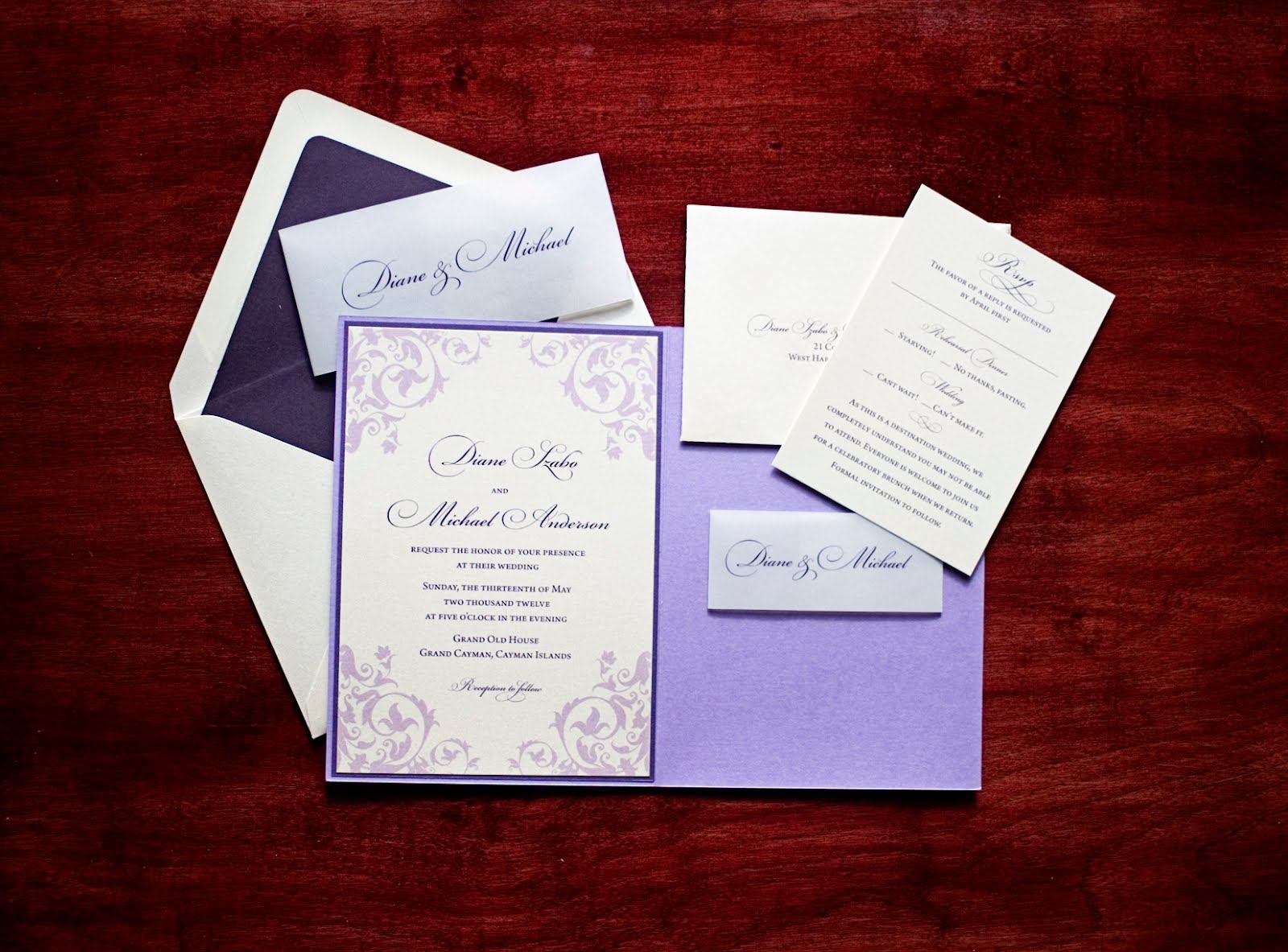 Tulaloo: GET WED: purple wedding invitation!