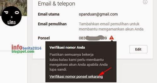 tahap lanjutan verifikasi nomor telepon-hp akun google