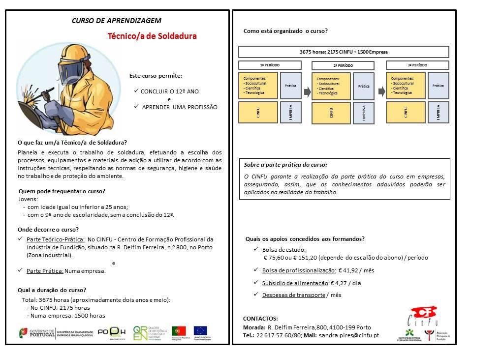 Curso remunerado de técnico de soldadura – Porto (equivalência ao 12º ano de escolaridade)