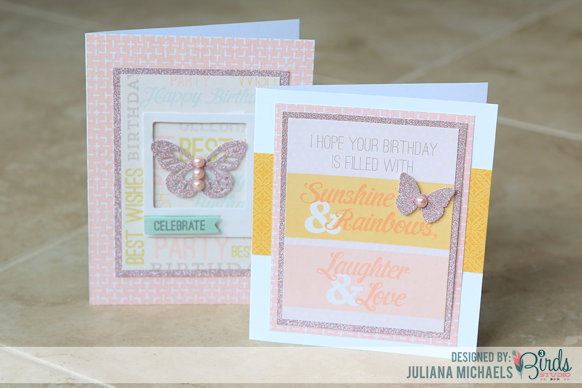 Quick and easy feminine birthday cards by Juliana Michaels for 3 Birds Design