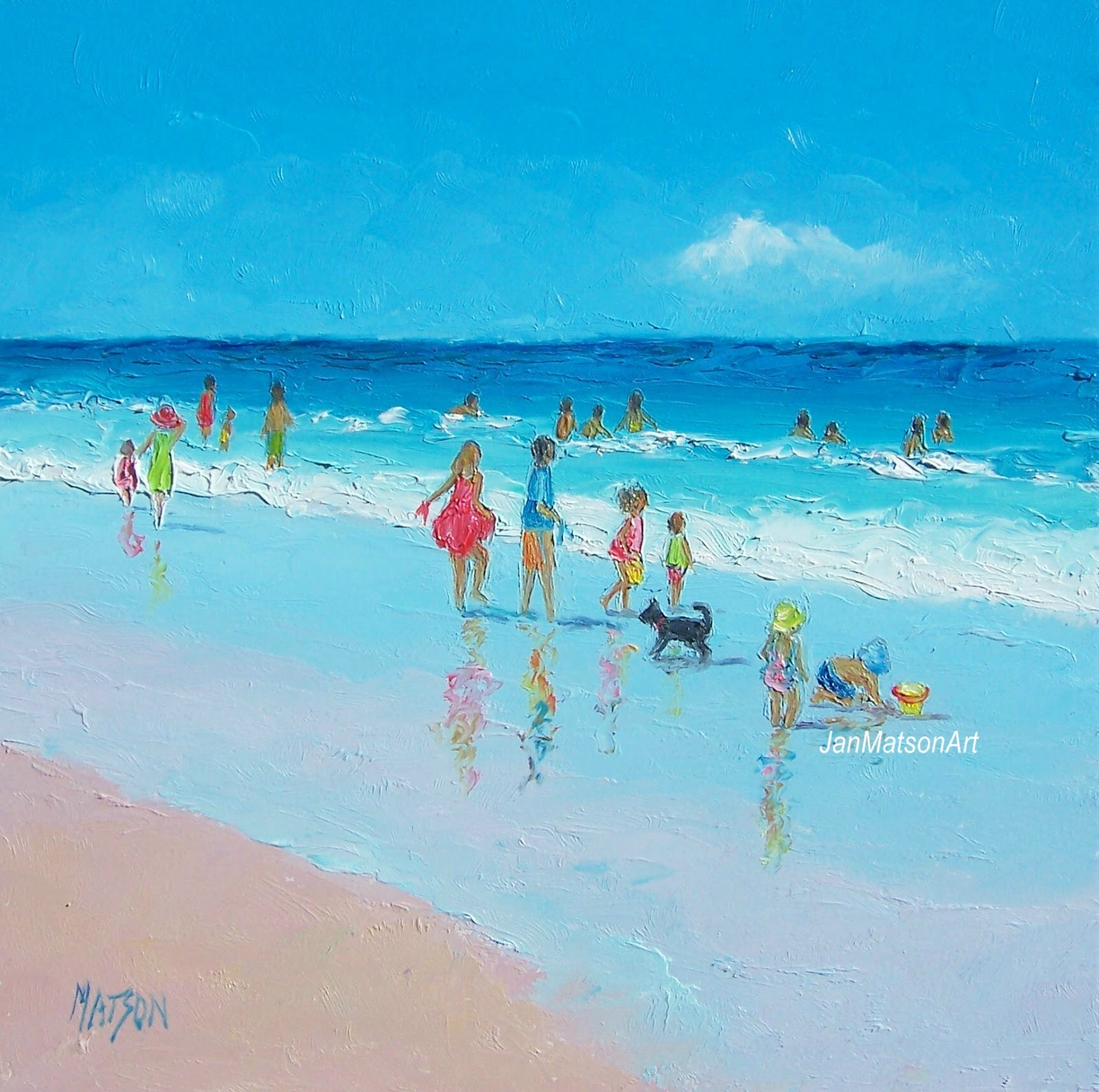 jan matson etsy art: etsy art beach scenes, 'reflections'