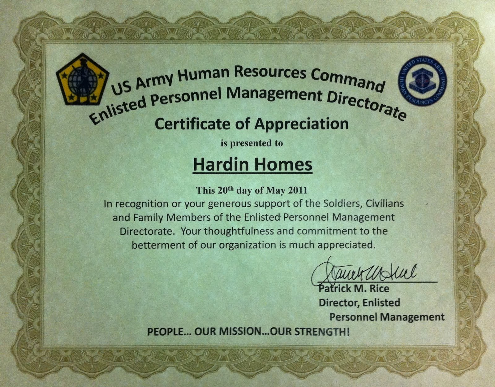 Elizabethtown KY Real Estate Fort Knox HRC Certificate of – Army Certificate of Appreciation