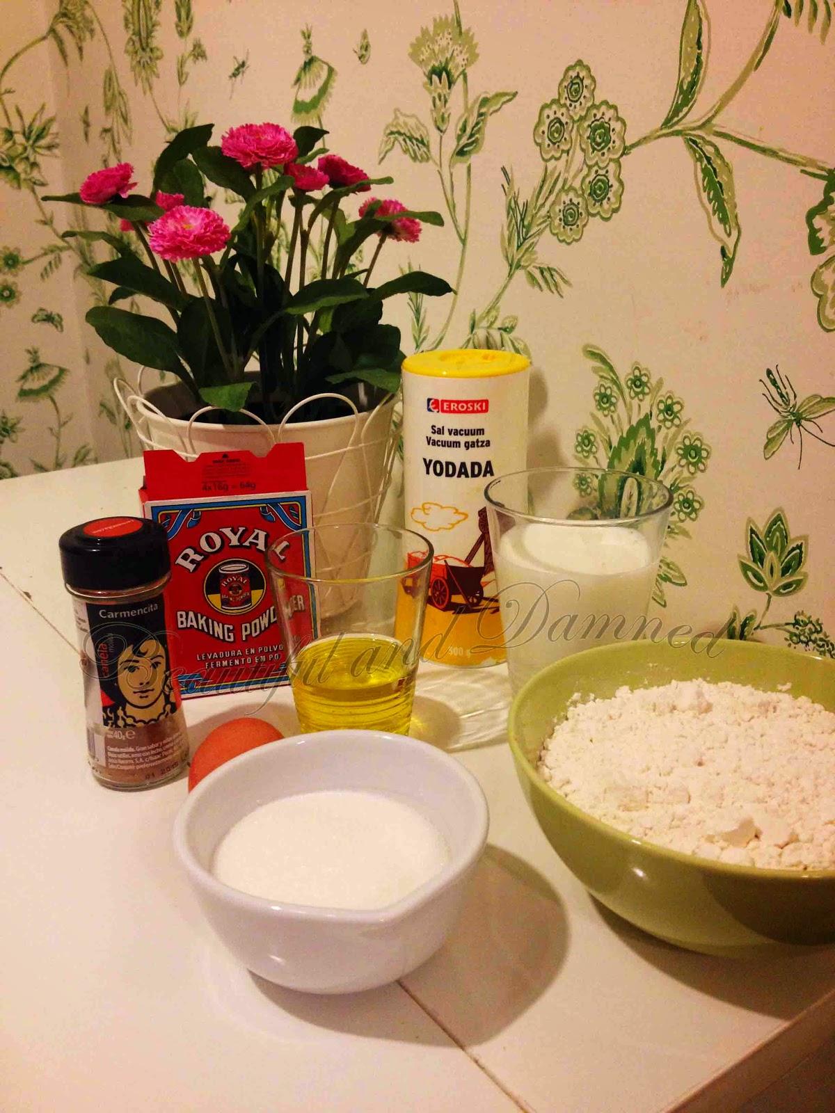 Ingredientes del bizcocho de azúcar y canela