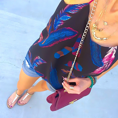 Express Feather Print Barcelona Cami Outfit, Jean Shorts, Wine Crossbody Bag