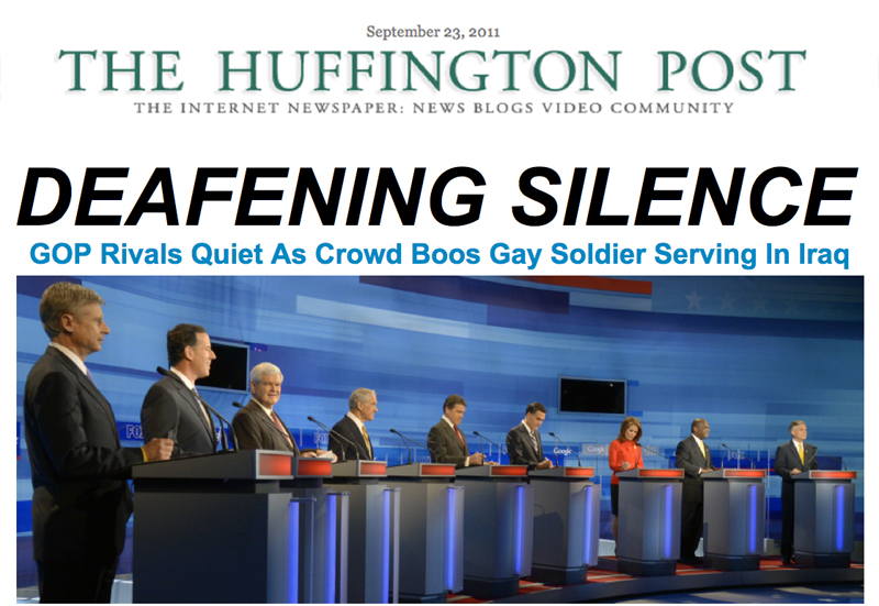 The Huffington Post front page after the GOP debate