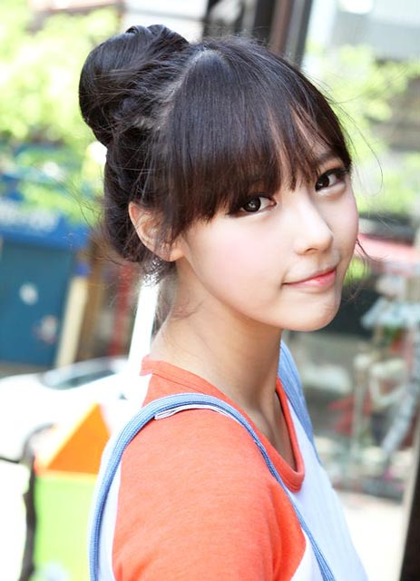 Korean Bun with Fringe Hairstyle