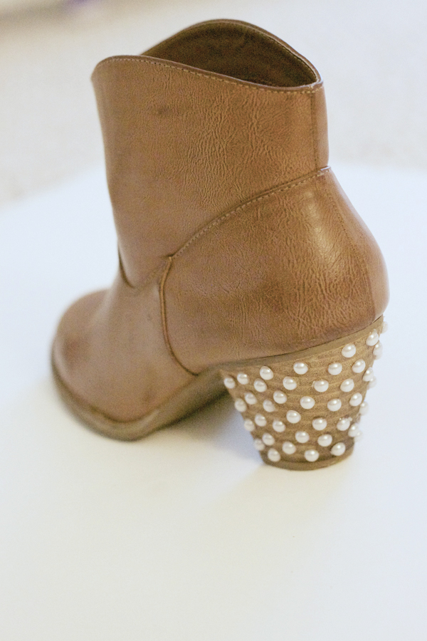 DIY pearl embellished booties