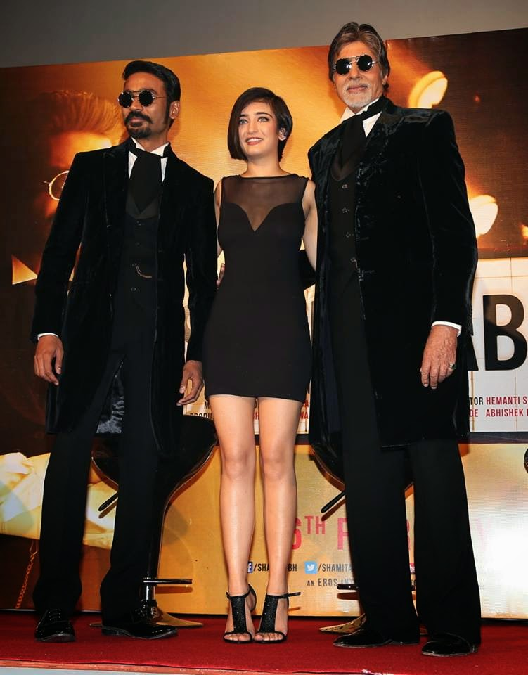 Amitabh & Dhanush at the launch of the trailer of ‪‎ShamitabhTrailer