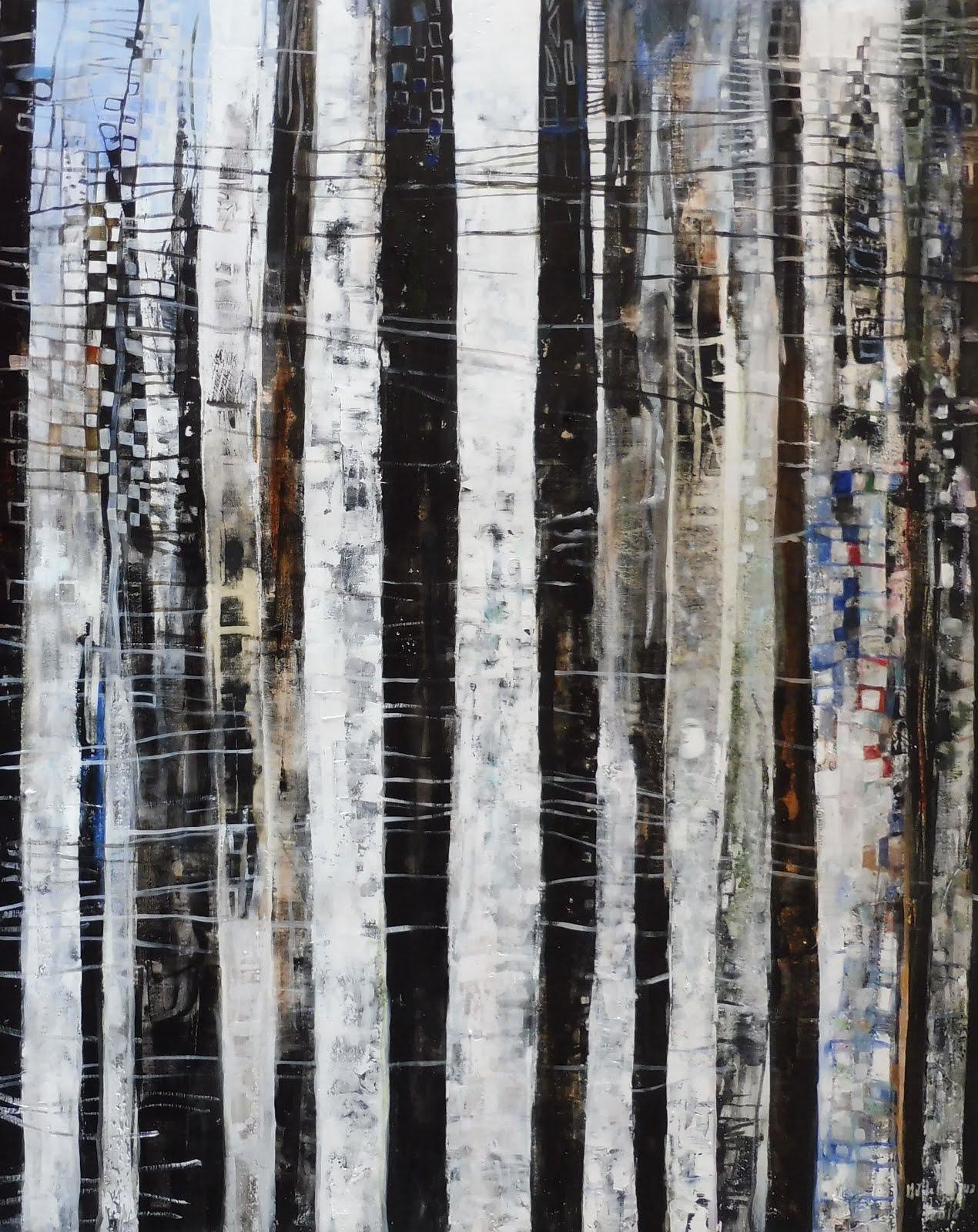 Le bois de bouleaux - 73 x 92 cm - 2016