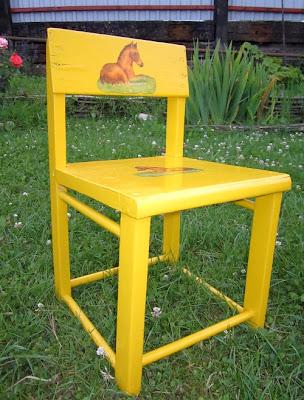 желтый стульчик, детский стульчик - переделка, стульчик до и после, декупаж стула