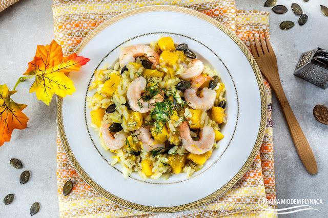 risotto z dynią, risotto z krewetkami, ryż z dynią i krewetkami, dania z ryżem, dania z dynią, dania z krewetkami, kraina miodem płynąca